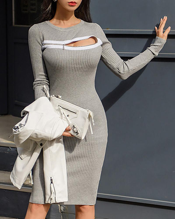 Solid Ribbed Zipped Chest Sweater Dress
