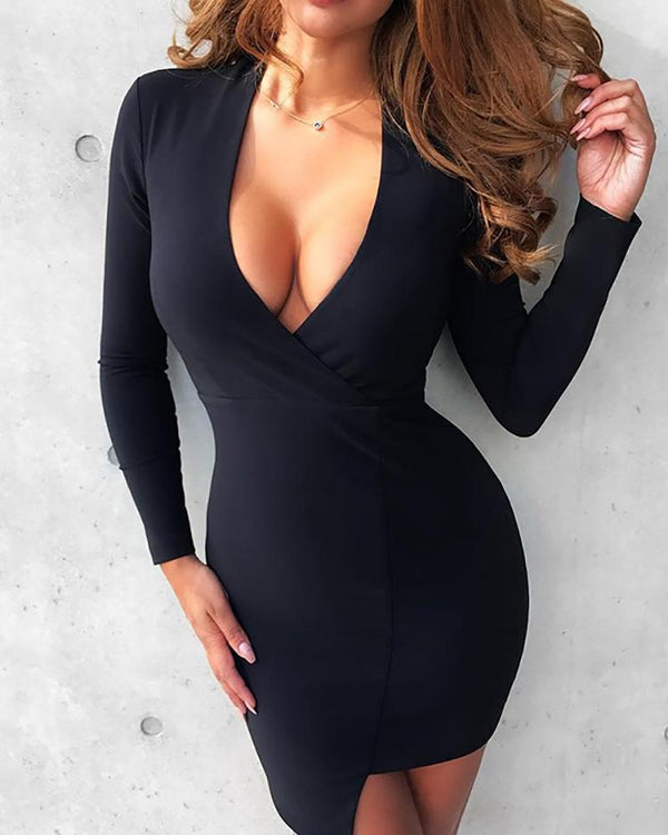 Asymmetric Deep V Long Sleeve Bodycon Dress