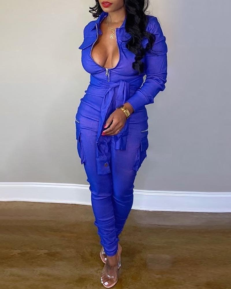 Solid Zipper Tied Waist Jumpsuit