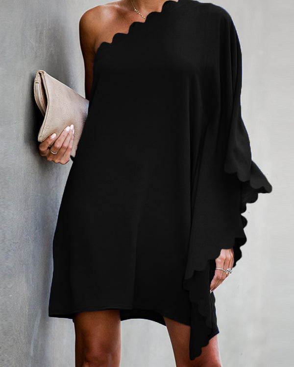 Solid One Shoulder Loose Mini Dress