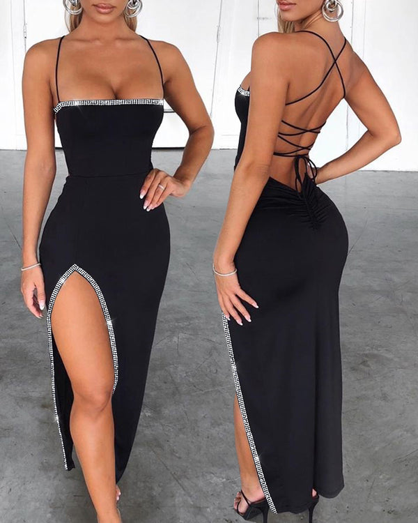 Studded Bandage Backless Slit Dress