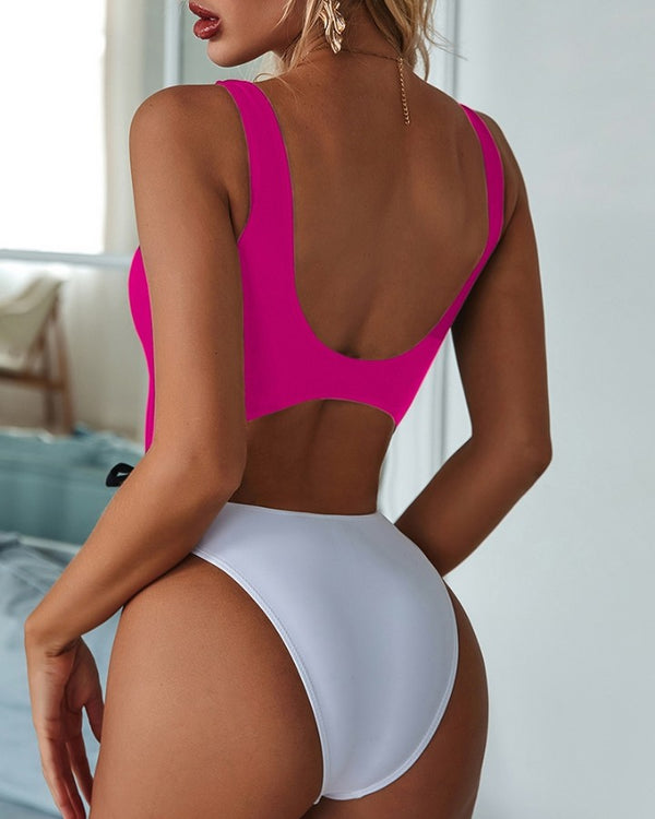 Spaghetti Strap Cutout One Piece Swimsuit