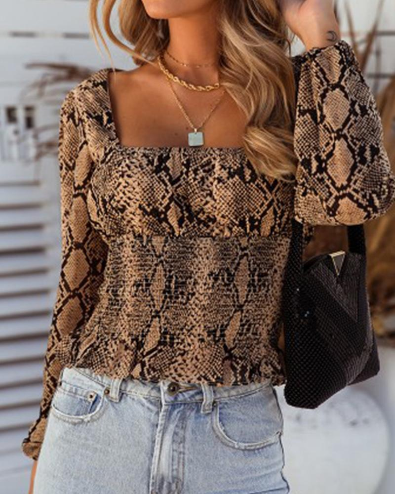 Snakeskin Square Neck Casual Blouse 3