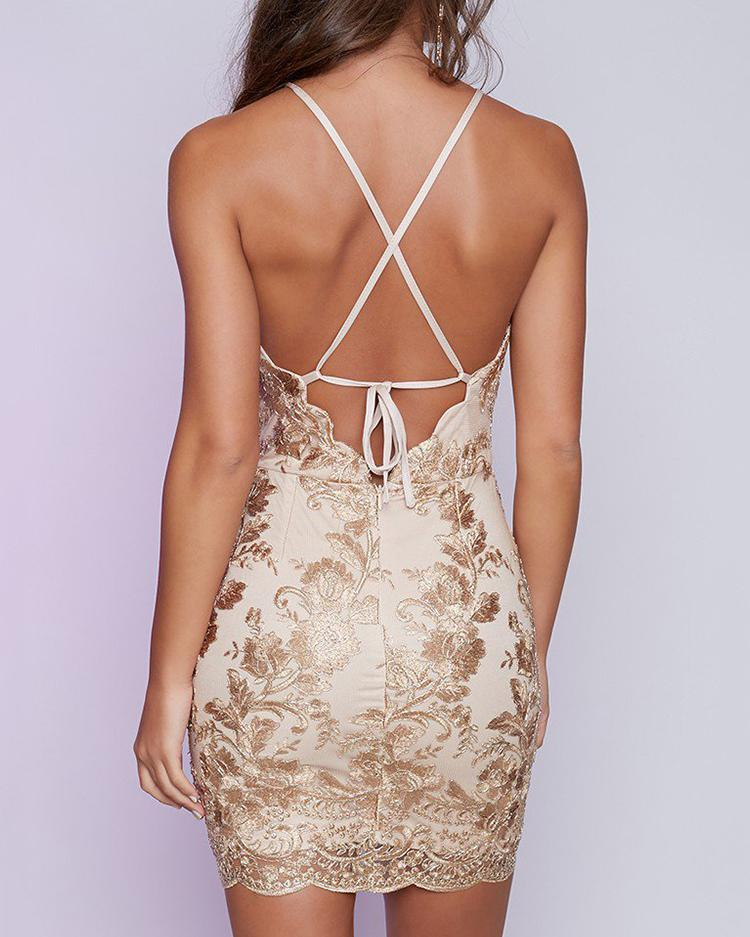 Sexy Spaghetti Strap Embroided Backless Cocktail Bodycon Dress