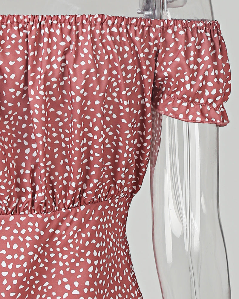 Summer Off Shoulder Polka Dot Printed Falbala Dress