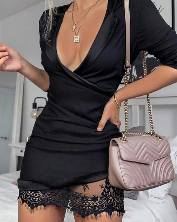 Mesh Lace Insert Wrap Dress