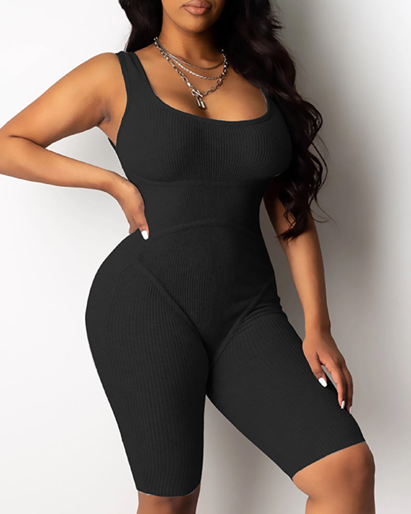 U-Neck Thick Strap Fitted Romper