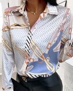 Scarf Print Satin Long Sleeve Shirt