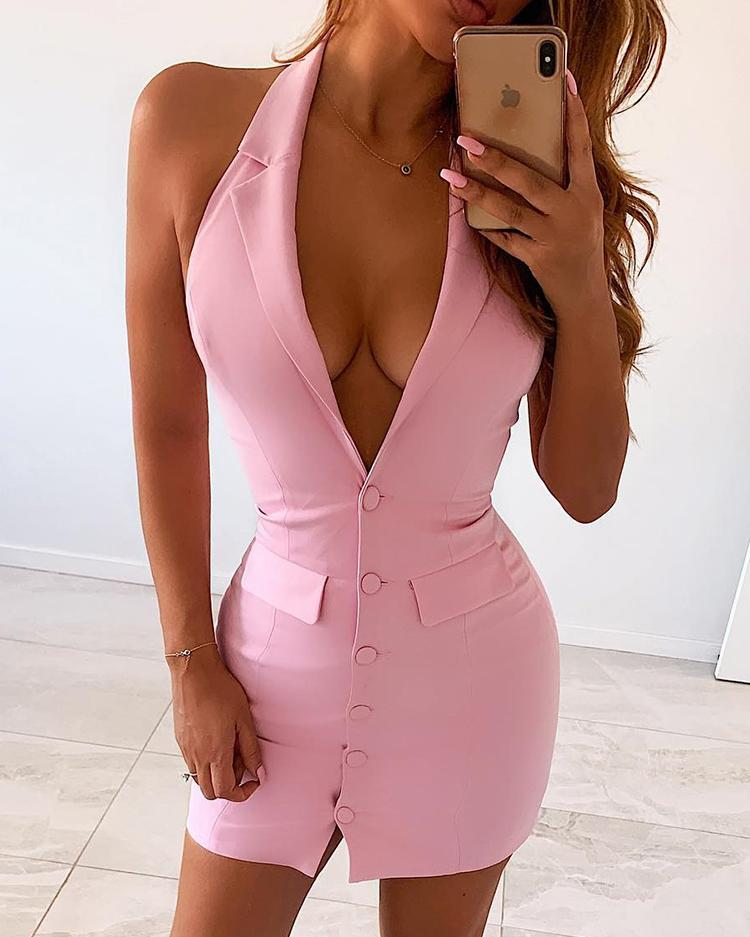 Sleeveless Buttoned Fake Pocket Bodycon Dress