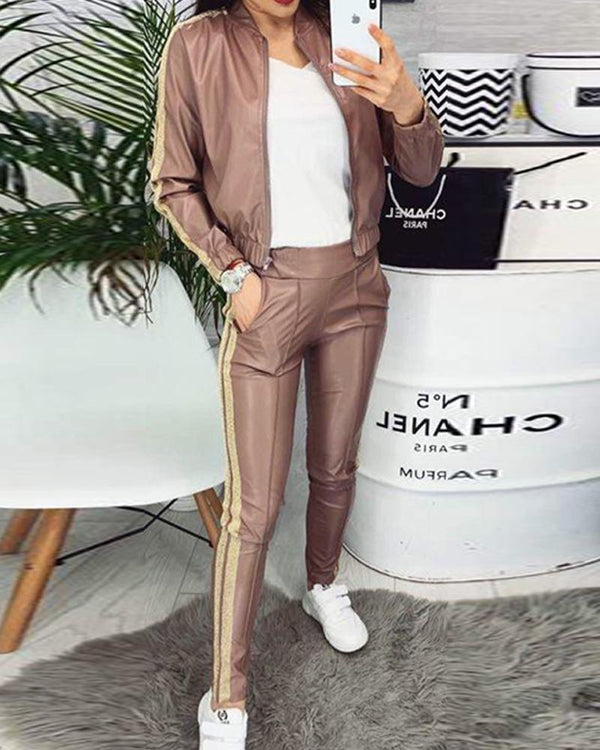 Contrast Stripes Zip Front Tracksuit