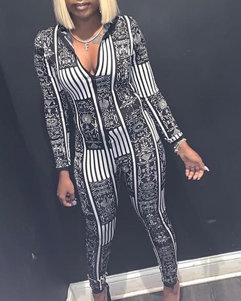 Plunge Abstract Print Long Sleeve Jumpsuit