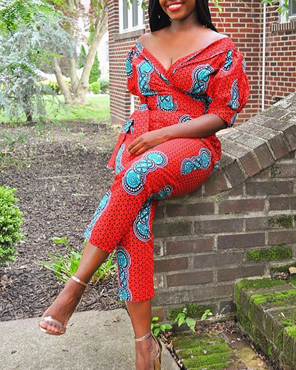 Print Off Shoulder Tight Waist Short Sleeve Jumpsuit