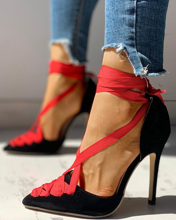 Suede Lace-Up Ankle Thin Heels