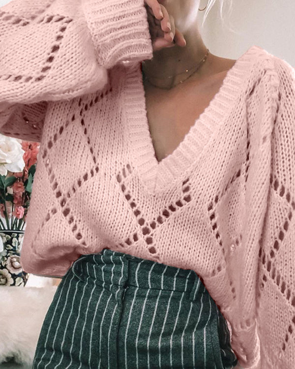 Solid V-Neck Long Sleeve Hollow Out Sweater