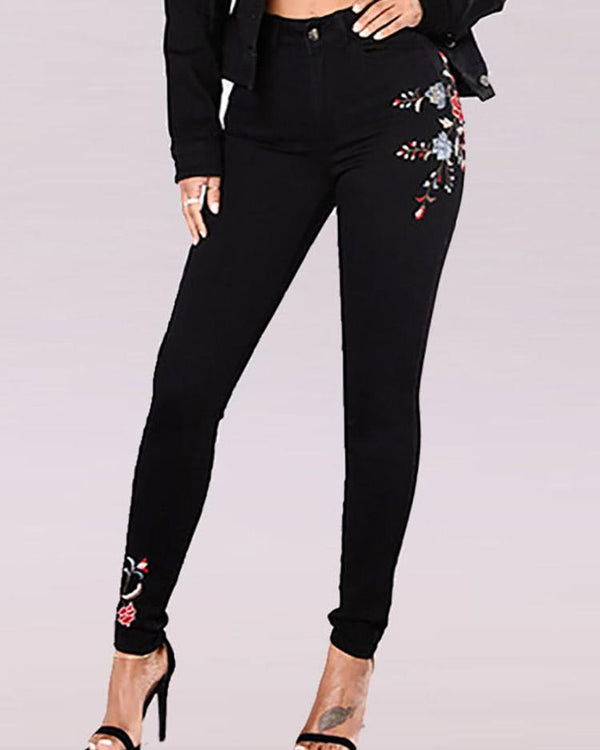Vintage Embroidered Floral Denim Pants