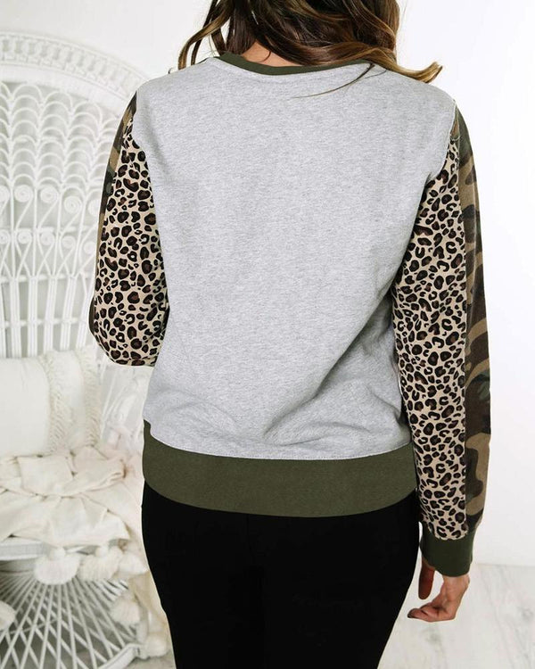 Two-Toned Leopard Sleeve Sweatshirt