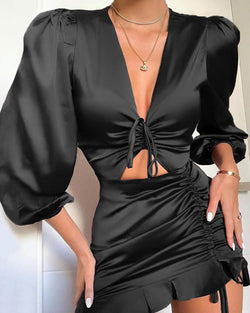 V Neck Tie Detail Dress