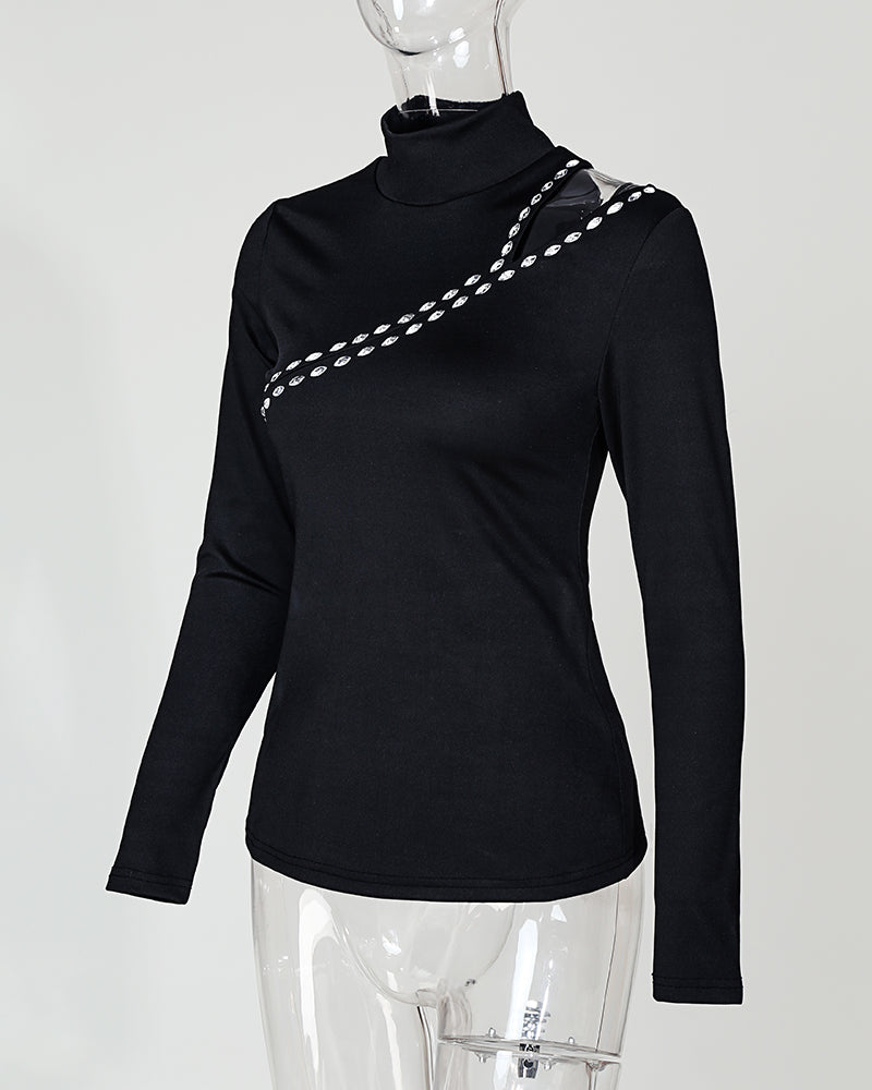 Long Sleeve Cut Out Rivet Casual Blouse