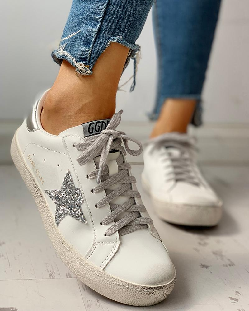 Sequins Star Design Casual Lace-Up Sneakers