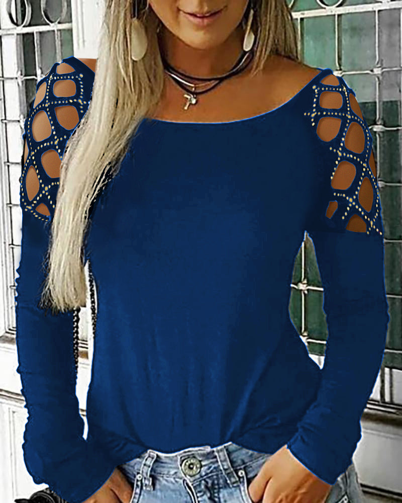 Studded Cutout Long Sleeve Casual Top