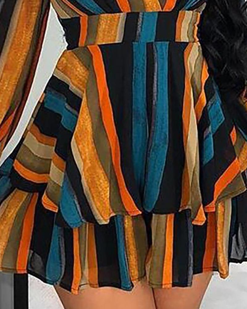 Color Striped Layered Wrap Dress