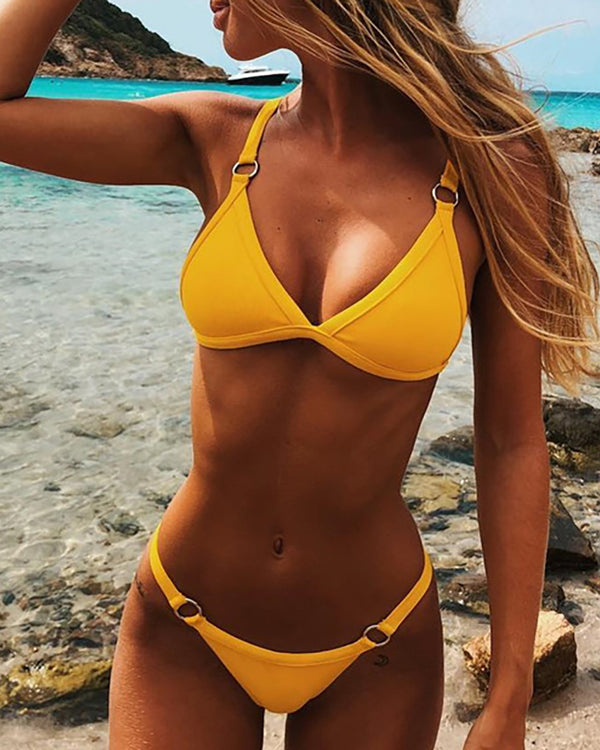 Solid Low Cut Bikini Set