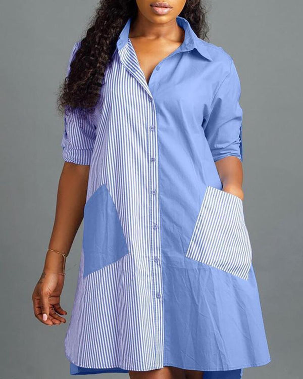 Striped Insert Pocket Shirt Dress