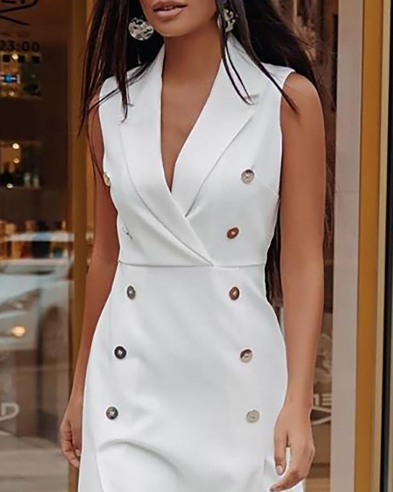 Solid Double Breasted High Slit Blazer Dress