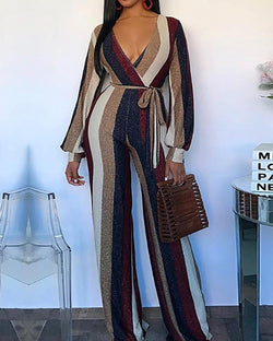 Colorful Striped V-Neck Belted Jumpsuits