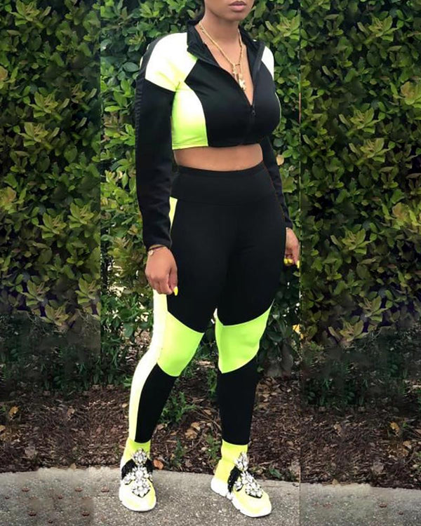 Colorblock Zipped Crop Top & Pant Sets