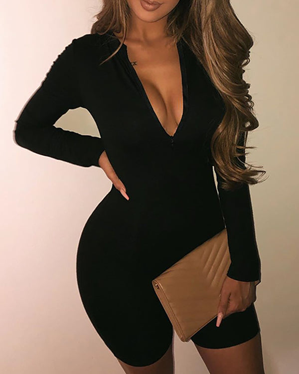 Zipper Design Long Sleeve Fitted Romper