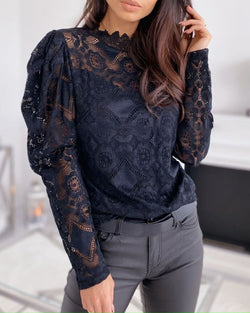 Lace Embroidery Puff Sleeve Blouse