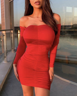 Off Shoulder Ruched Mini Dress