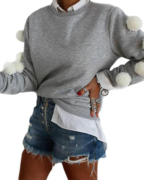 Plush Ball Long Sleeve Sweatshirt