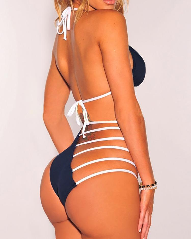 Sexy Halter Ladder Cut Out Bikini Set