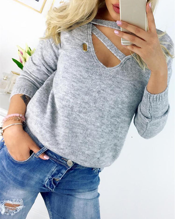 V Neck Cutout Casual Blouse