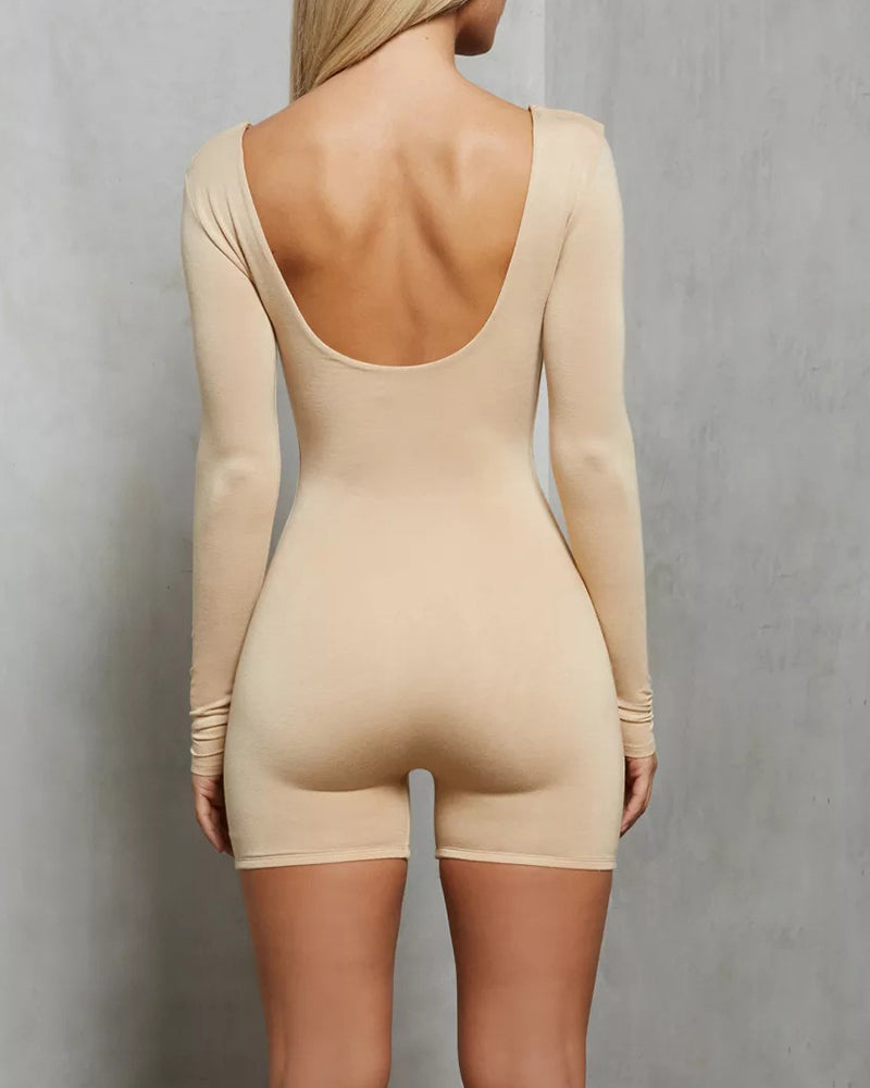 Backless Long Sleeve Fitted Romper