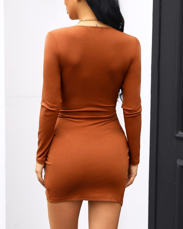 V-Neck Surplice Wrap Ruched Bodycon Dress