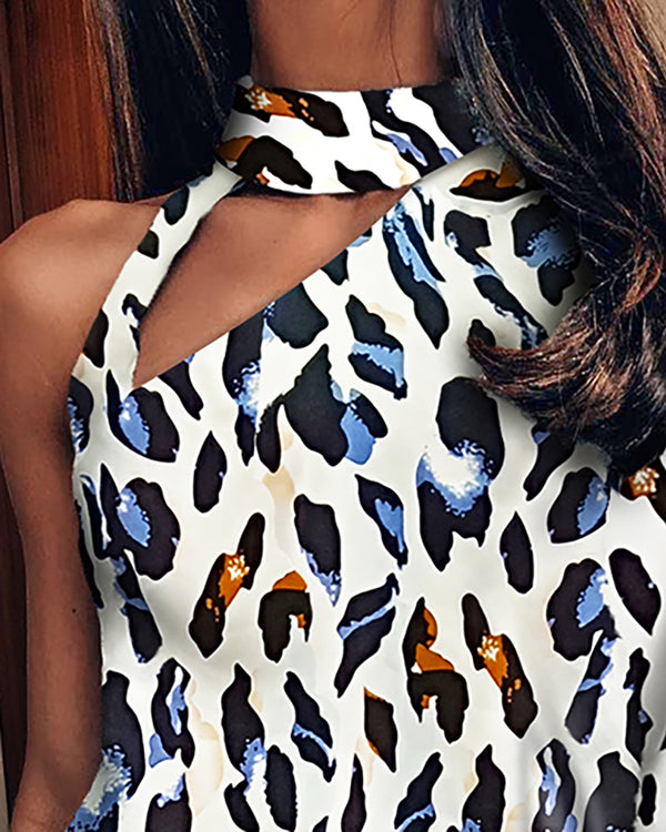 Leopard One Shoulder Cut Out Design Blouse