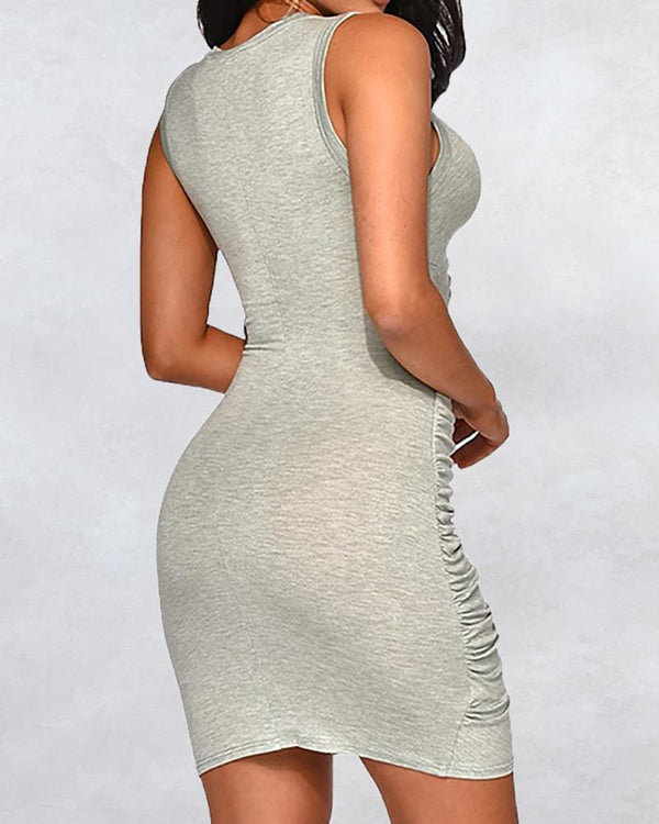 Cutout Waist Ruched Bodycon Mini Dress