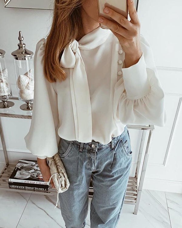 Balloon Sleeve Scarf Neck Blouse