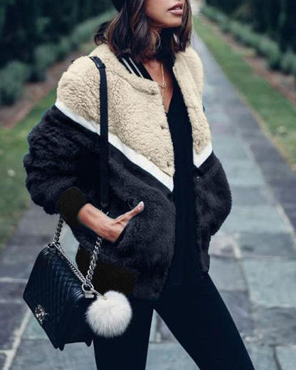 Contrast Button-Up Faux Fur Jacket