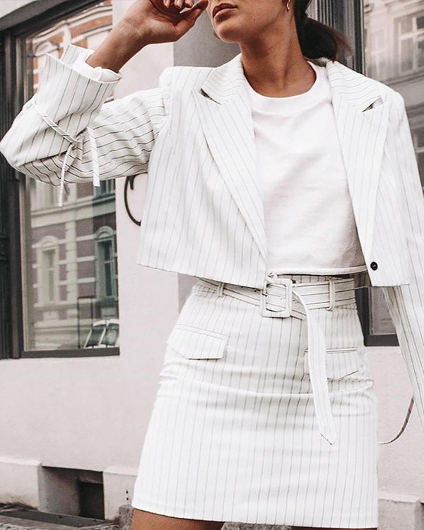 Pinstripes Notched Collar Crop Blazer & Buttoned Skirt Sets