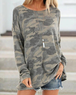 Open Back Oversized Camo Top