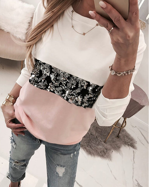 Round Neck Colorblock Insert Sequins Long Sleeve Sweatshirt