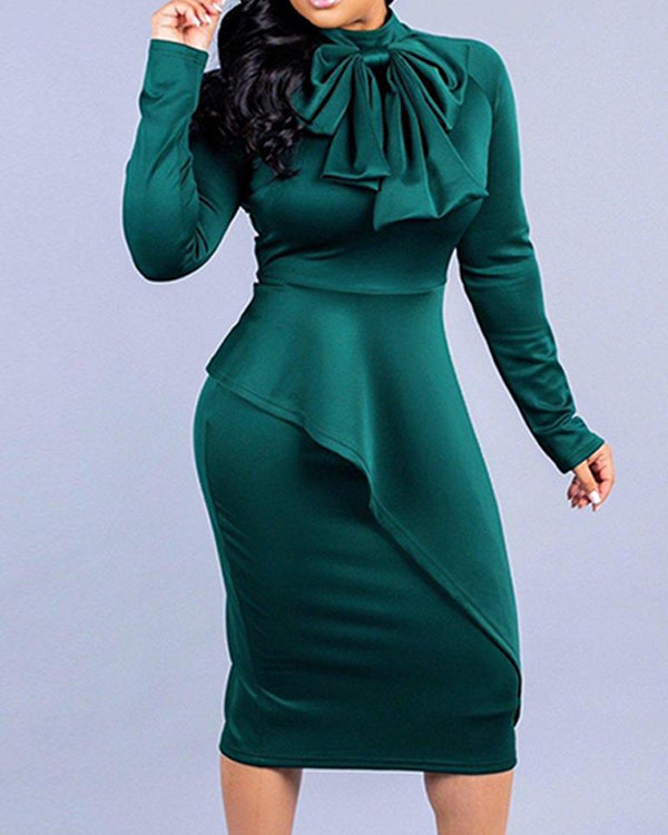 Solid Tie Neck Midi Dress