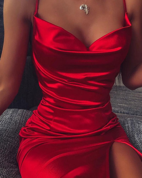 Spaghetti Strap Bodycon Slit Dress