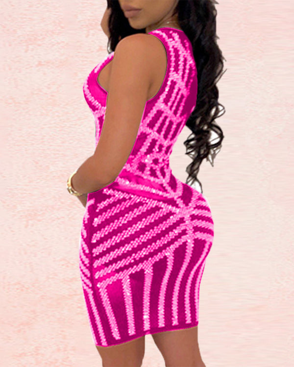V-neck Mesh Studded Nightclub Dress