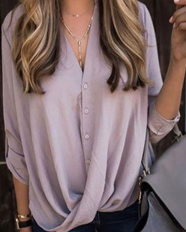V Neck Draped Front Solid Blouse