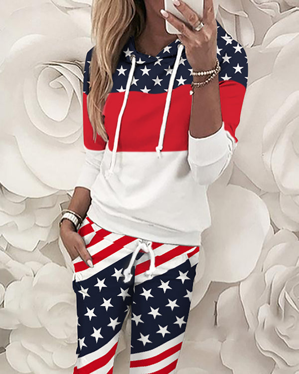 Flag Print Colorblock Top & Pant Sets